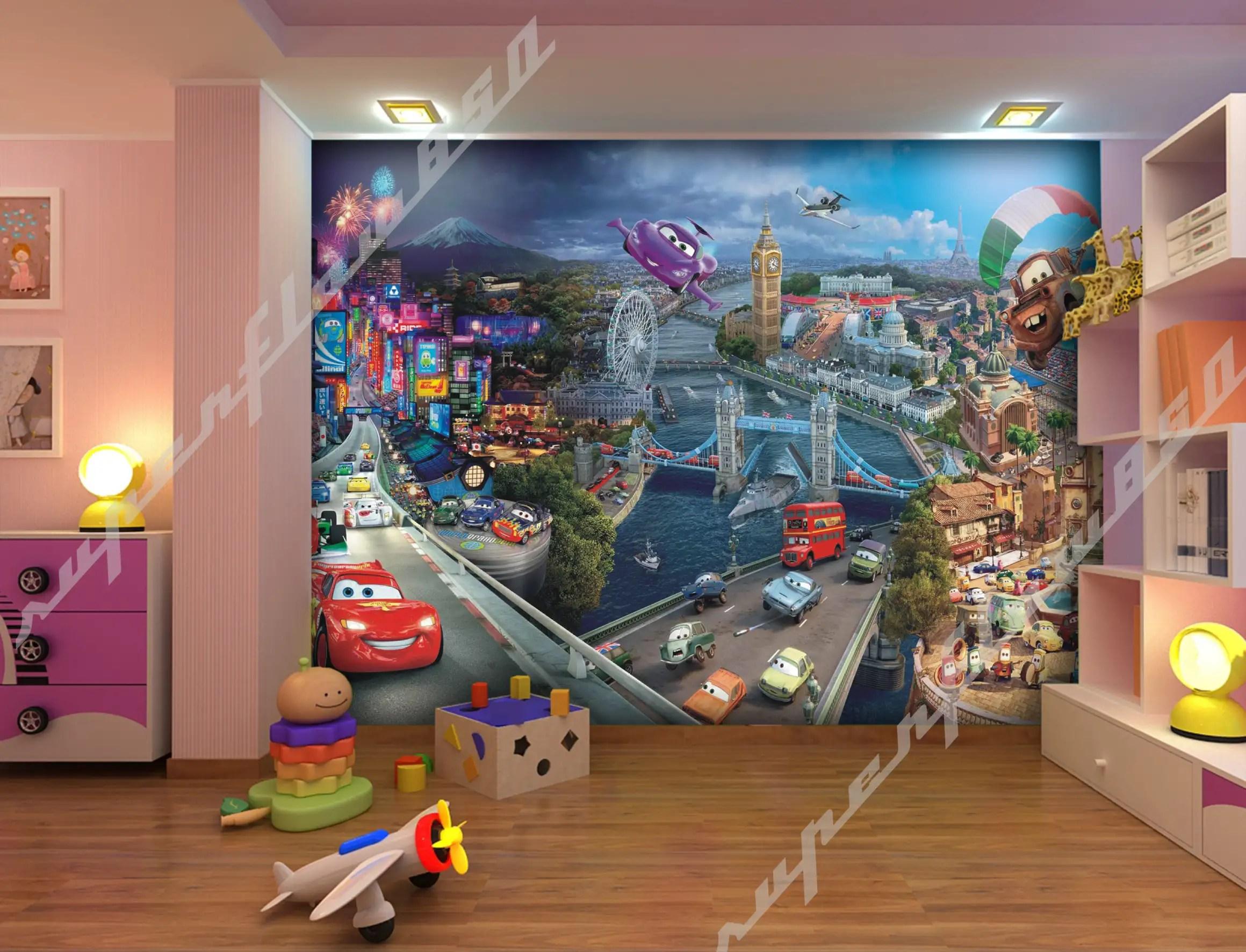 Disney Cars Mural Wallpaper Ebay Cars World Disney Pixar Photo Wallpaper Wall Mural Kids