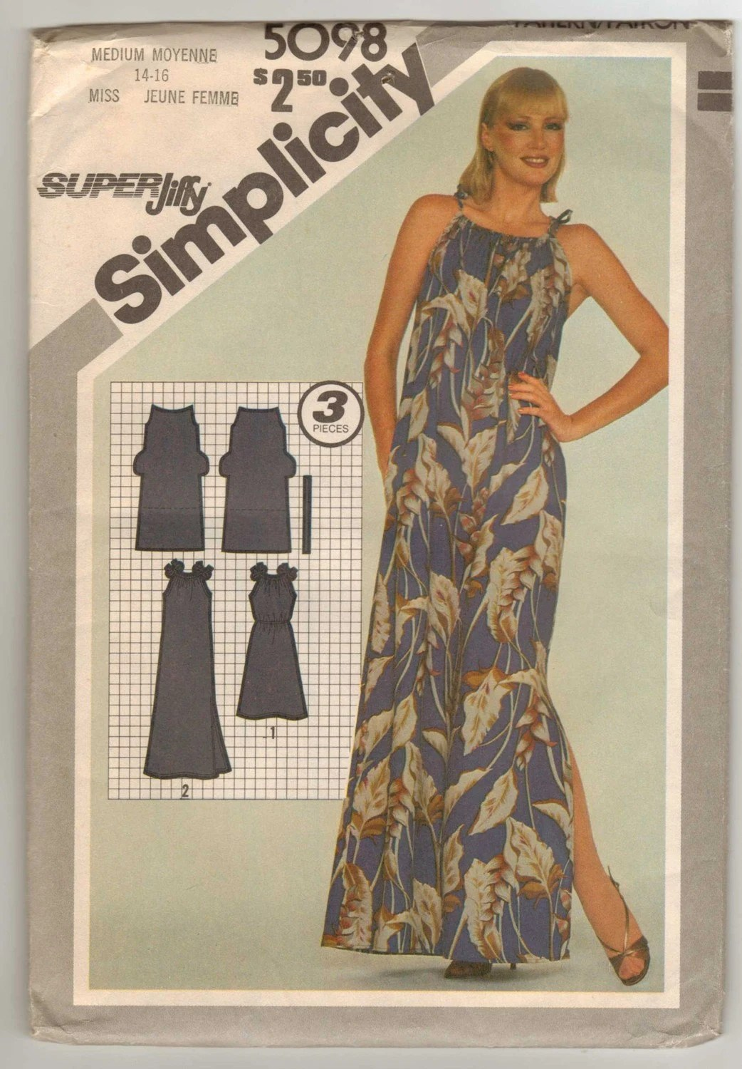 1981 Simplicity Jiffy Pattern 5098 Pullover Dress 2 Lengths Sizes 14-16