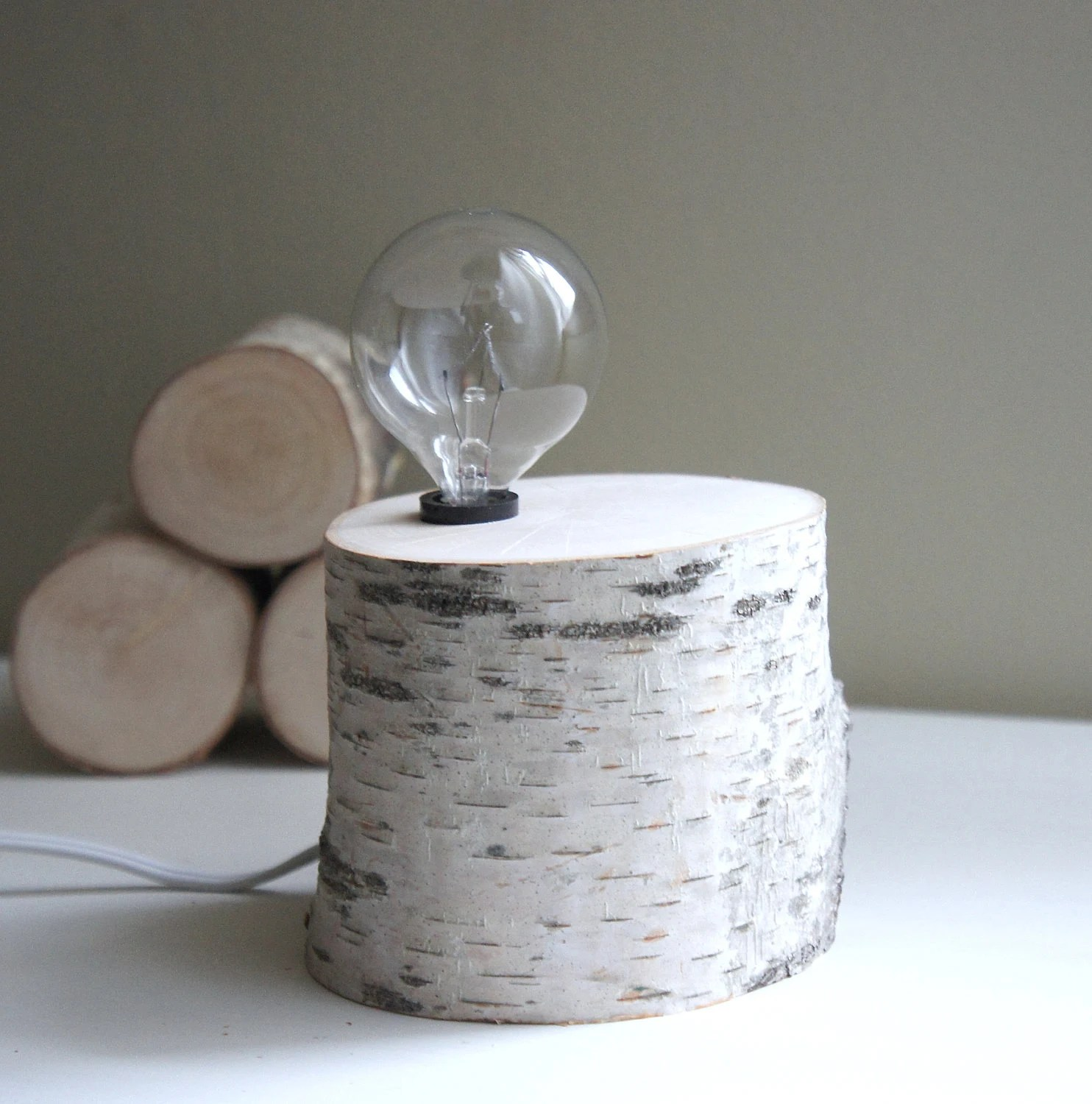 exposed bulb woodland lamp - natural white birch wood