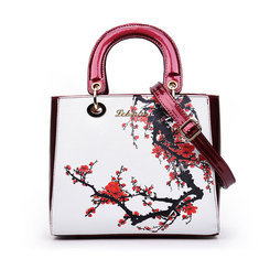 Elegant Vintage Women Tote PU Leather Commuter Handbags Flower Design Shoulder Bags Crossbody Bags
