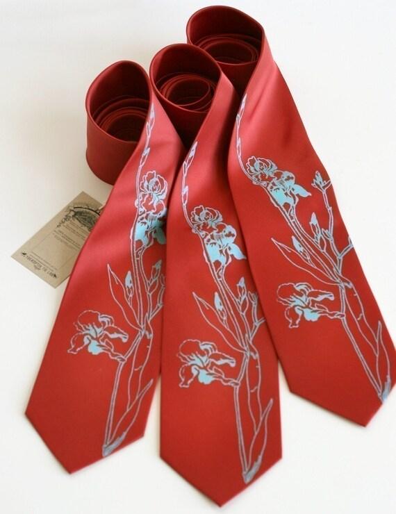3 wedding silkscreen neckties. Groomsmen group discount, matching microfiber ties, same design