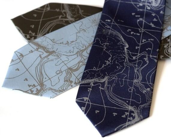 Topographical Error tie - NARROW silkscreen microfiber necktie. Seafloor contour map.