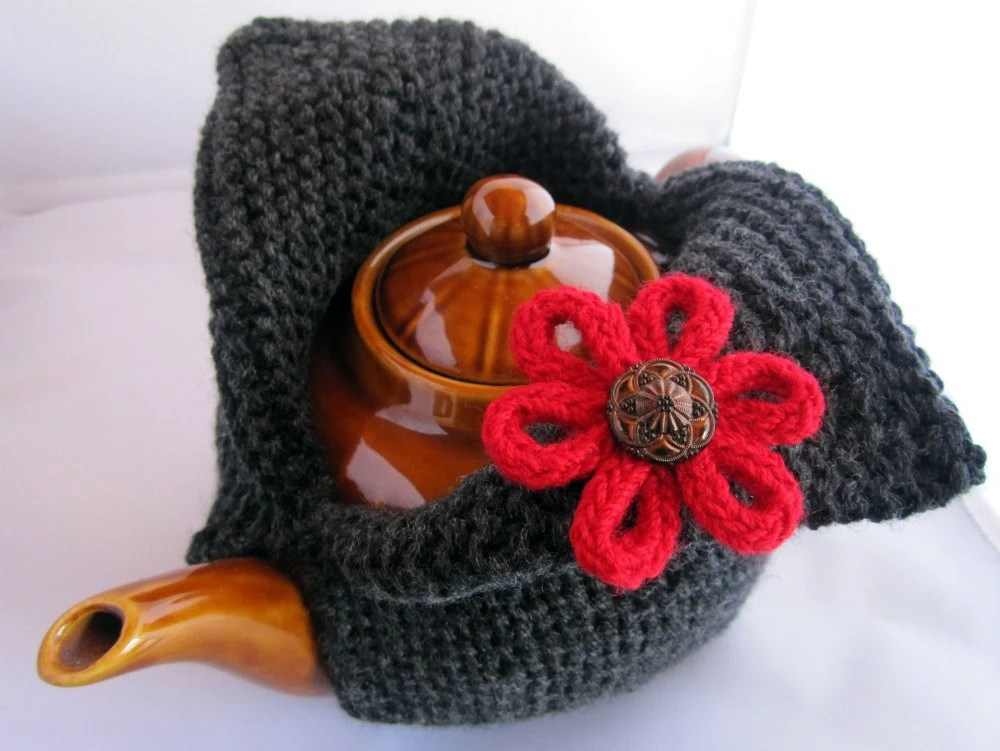 Modern Knit Tea Cosy - charcoal grey with scarlet red flower embellishment - custom and handmade for you