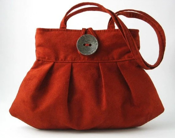 ultrasuede bag ,small and sexy purse, handbag, mini tote Burnt orange