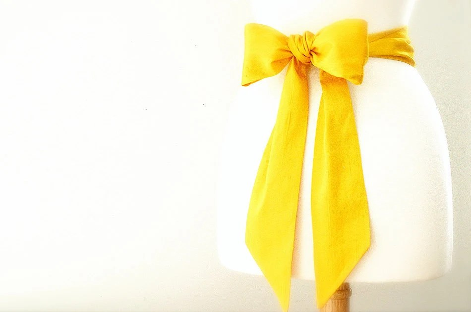 yellow silk sash belt, customizable colors for the bride, bridesmaid, and flower girls - eclu