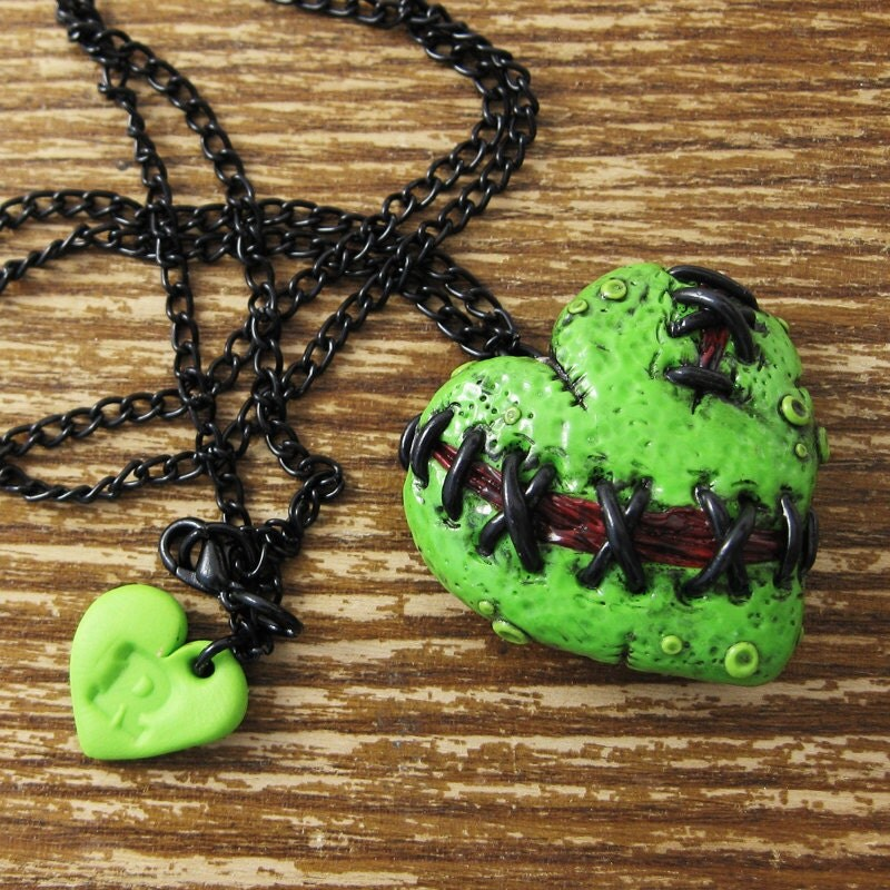 Stitched zombie heart locket by rapscalliondesign on Etsy.com