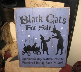 decor wiccan witch halloween wall heaven witches sign cats 2009 handpainted stairways hanging plaque wood october key march west