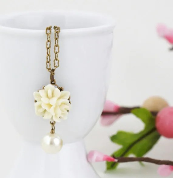 Ivory Flower Necklace - Bridal Jewelry - Ivory Glass Bead - Brass Chain - Delicate Jewelry - Free Shipping