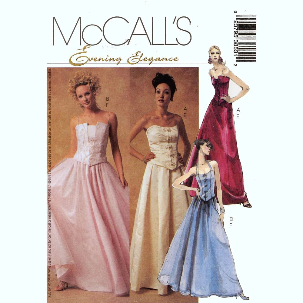 Bustier top and skirt sewing pattern McCalls 3853 Size 6 to 12