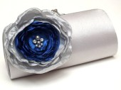 Silver & Royal Blue Bridal Clutch - Bridesmaid Clutch Rhinestones Pearls Kisslock Silver Clutch Ivory Flower - FallenSparrow