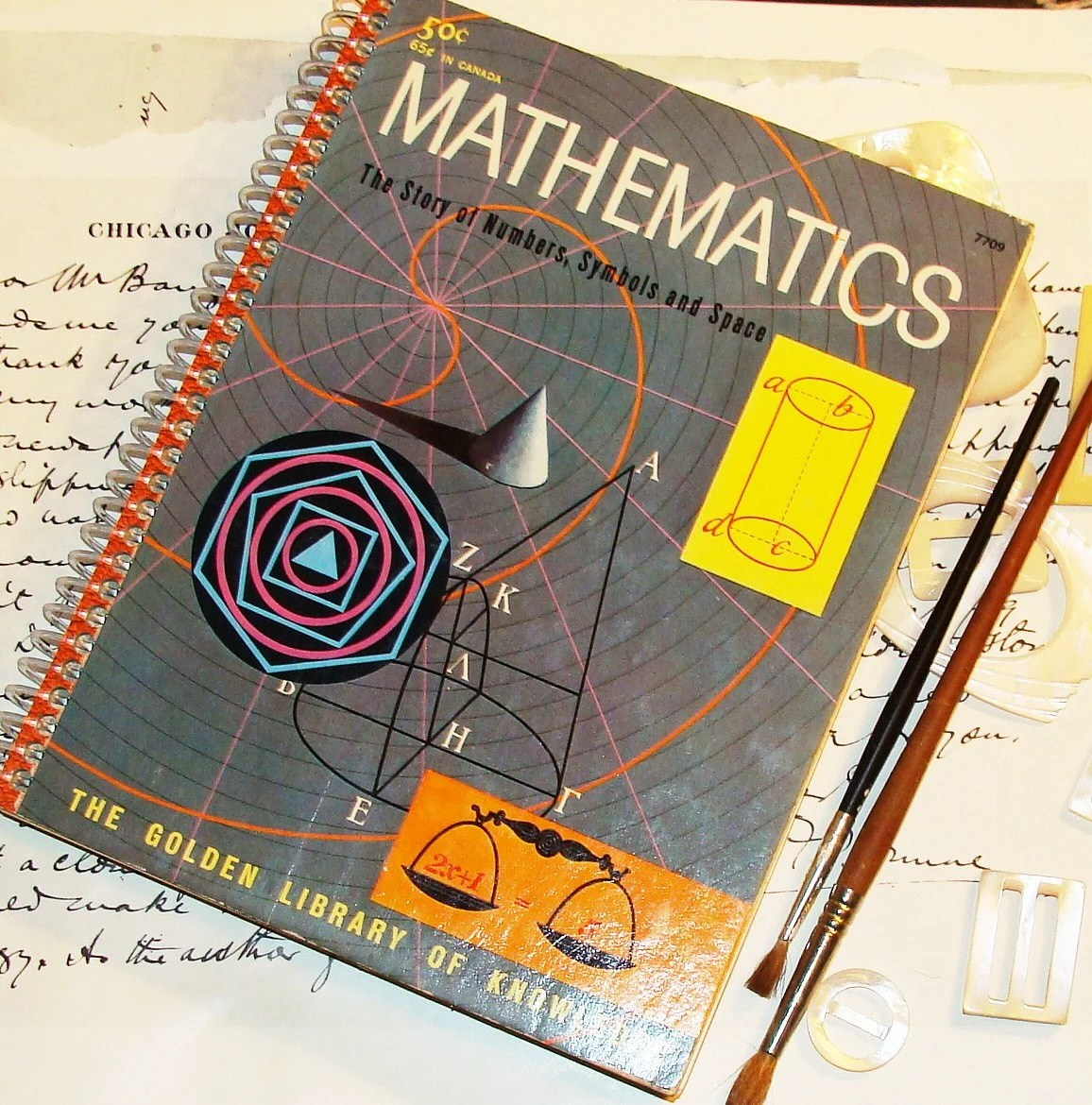 Math - Handmade Journal - Recycled Vintage Mathematics Journal or Sketchbook