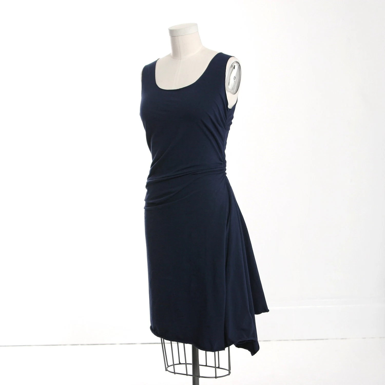 Sleeveless Navy Blue Twisted Drape Dress - MiloCreativeStudios