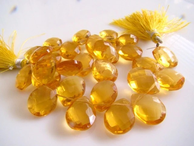 1/2 STRAND---Citrine Quartz Faceted Pear Briolettes
