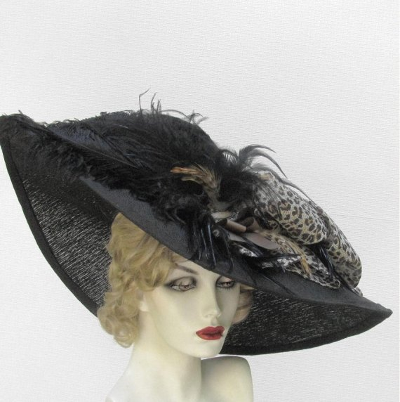 Wide Brim Edwardian Titanic Hat in a Summer Black Leopard  Animal Print - BuyGail