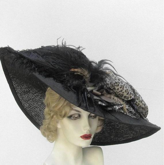 Wide Brim Edwardian Titanic Hat in a Summer Black Leopard Animal Print - BuyGail