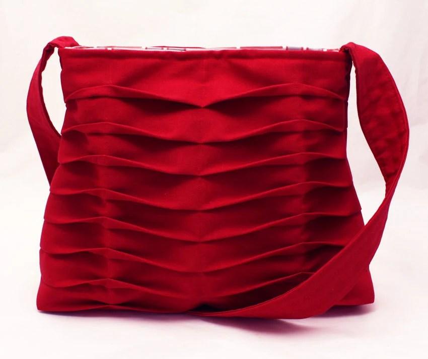 Handbag Handmade Purse Pleated in Bright Red Chevron Pleats - JulieMeyer