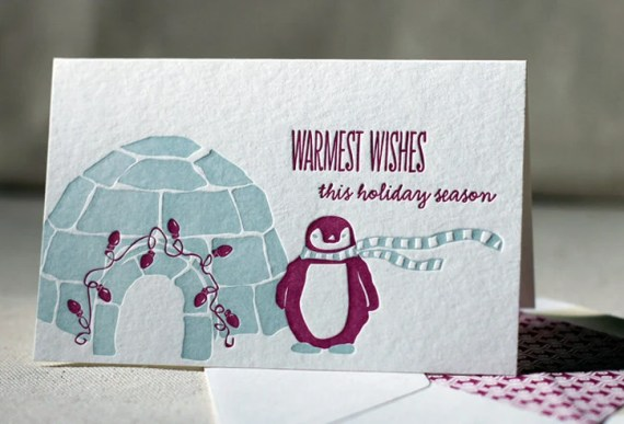 Letterpress Holiday Cards - Igloo. Bamboo paper, patterned envelopes, set of 6 cards. 4F2T - smockpaper