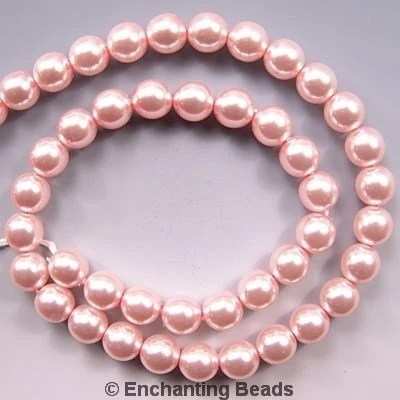 Czech Glass Pearl Beads 4mm Soft Pink 17667 Round Ballerina Pink - EnchantingBeads