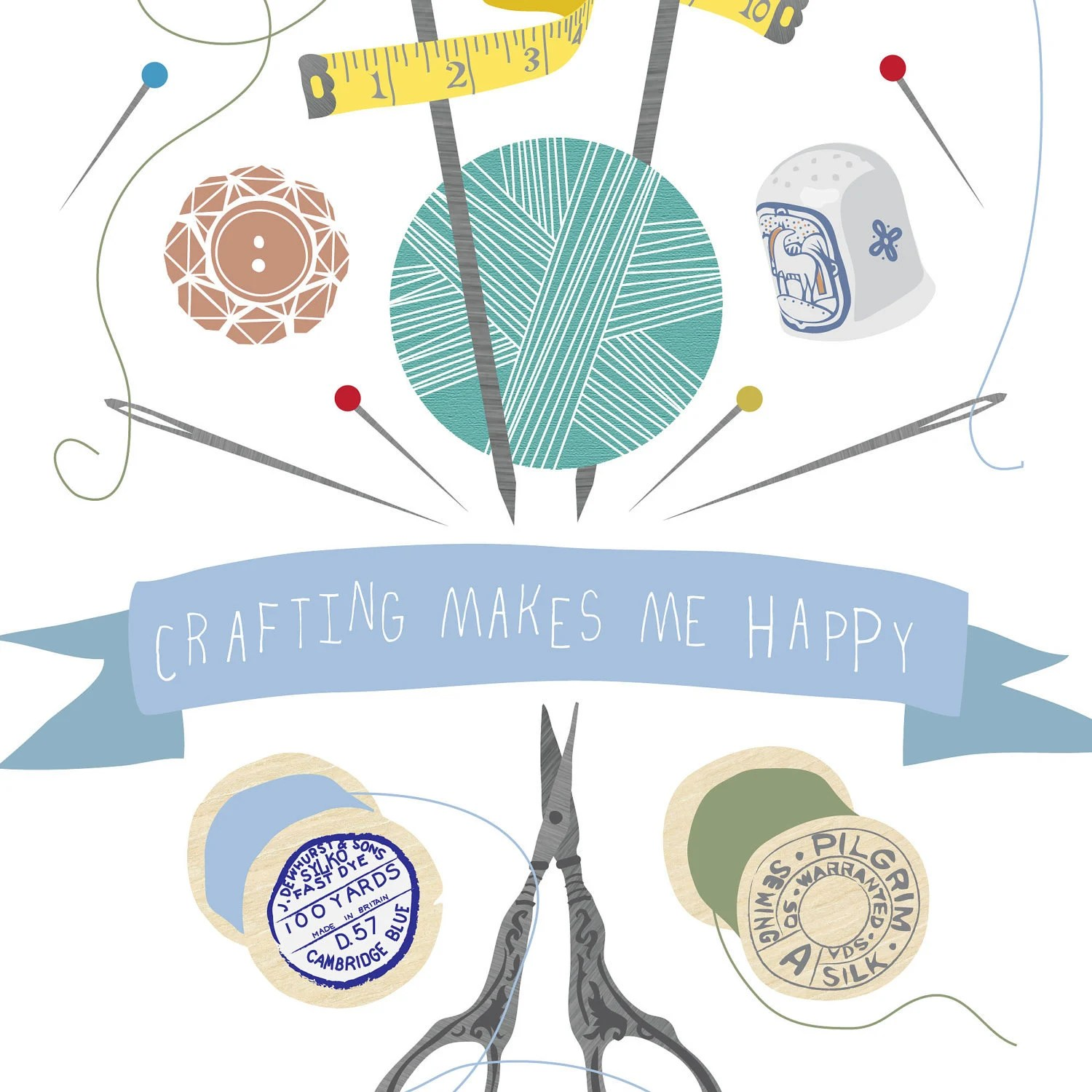 Crafting makes me happy print by Tea and Ceremony