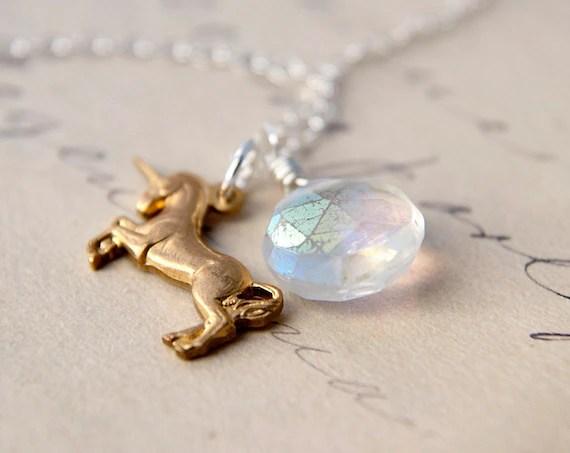 Unicorn Necklace Charm Silver Quartz Fairy Tale Pendant PoleStar - PoleStar