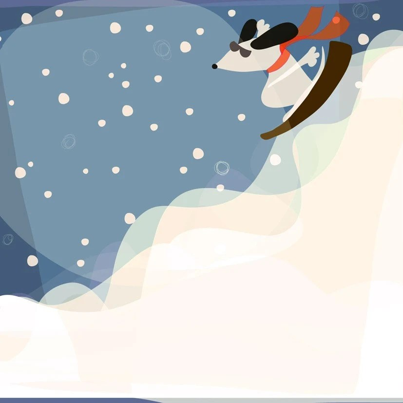 Art Print, Downhill Dog Skiing 8x10 - augustwren