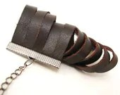 Coffee Brown Leather Fashion Cuff Bracelet - with adjustable gunmetal chain - Eco friendly repurposed leather - AnnyMay
