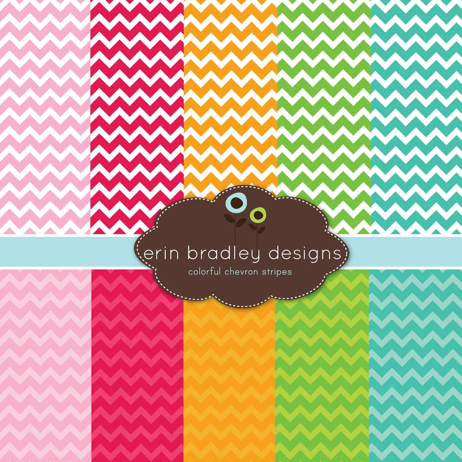 Digital Paper Pack Personal and Commercial Use Colorful Chevron Stripes