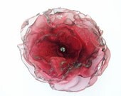 Dark Red Organza Flower Accessory, Hair Clip or Brooch, Wedding, Bridal Sash - OurPlaceToNest