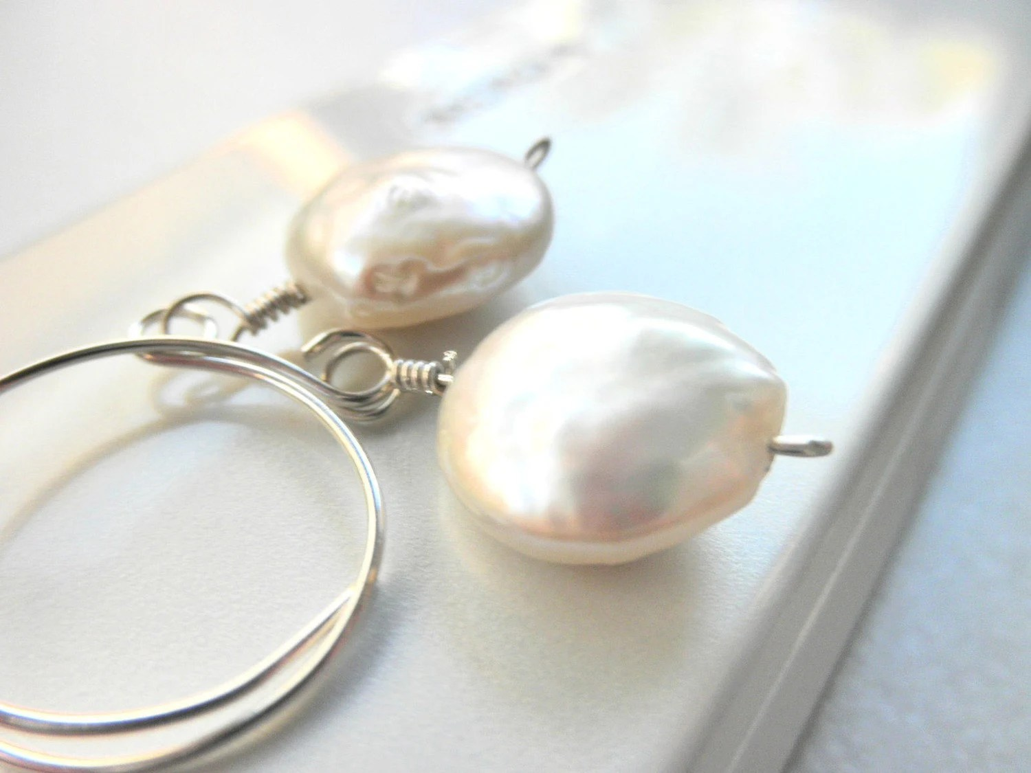 Wedding Earrings - Freshwater Coin Pearls -  White, Ivory, Bright, Bride, Bridal, Romantic, Love, Soft, Cream, Pastel, Grey, Classic - gabeadz