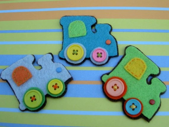 3FUN Train Engines/Handmade Felt embellishments