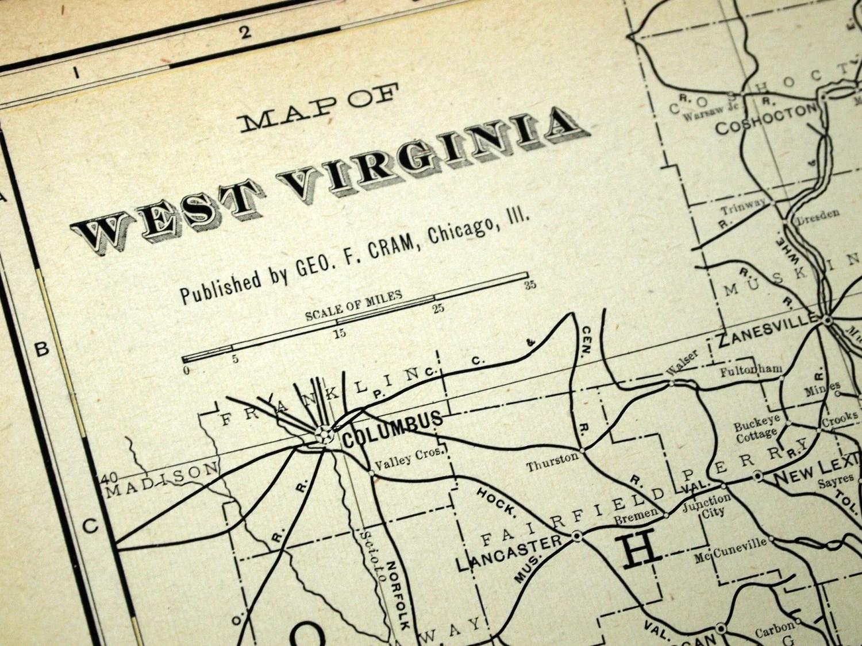 1901 Large Antique Map of West Virginia - bananastrudel