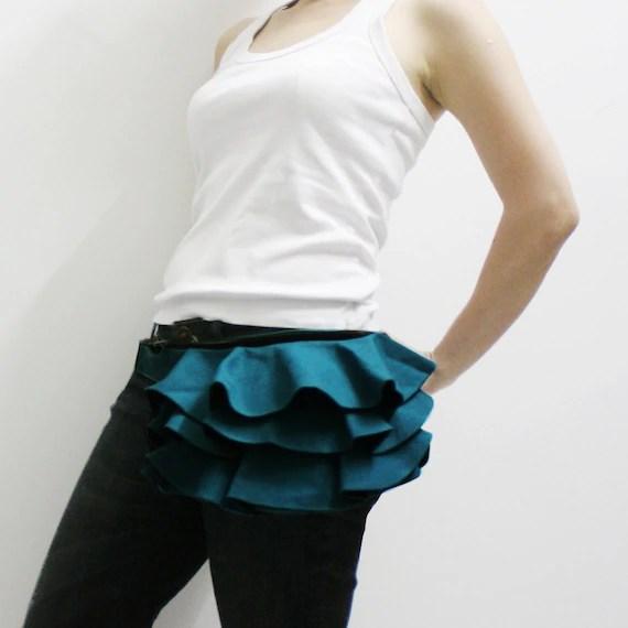 New Year Sale - Dark Teal Ruffled Canvas Women's Fanny Pack, Hip Bag, Belt pouch, Handbag - Kinies Ruffled Waist Purse