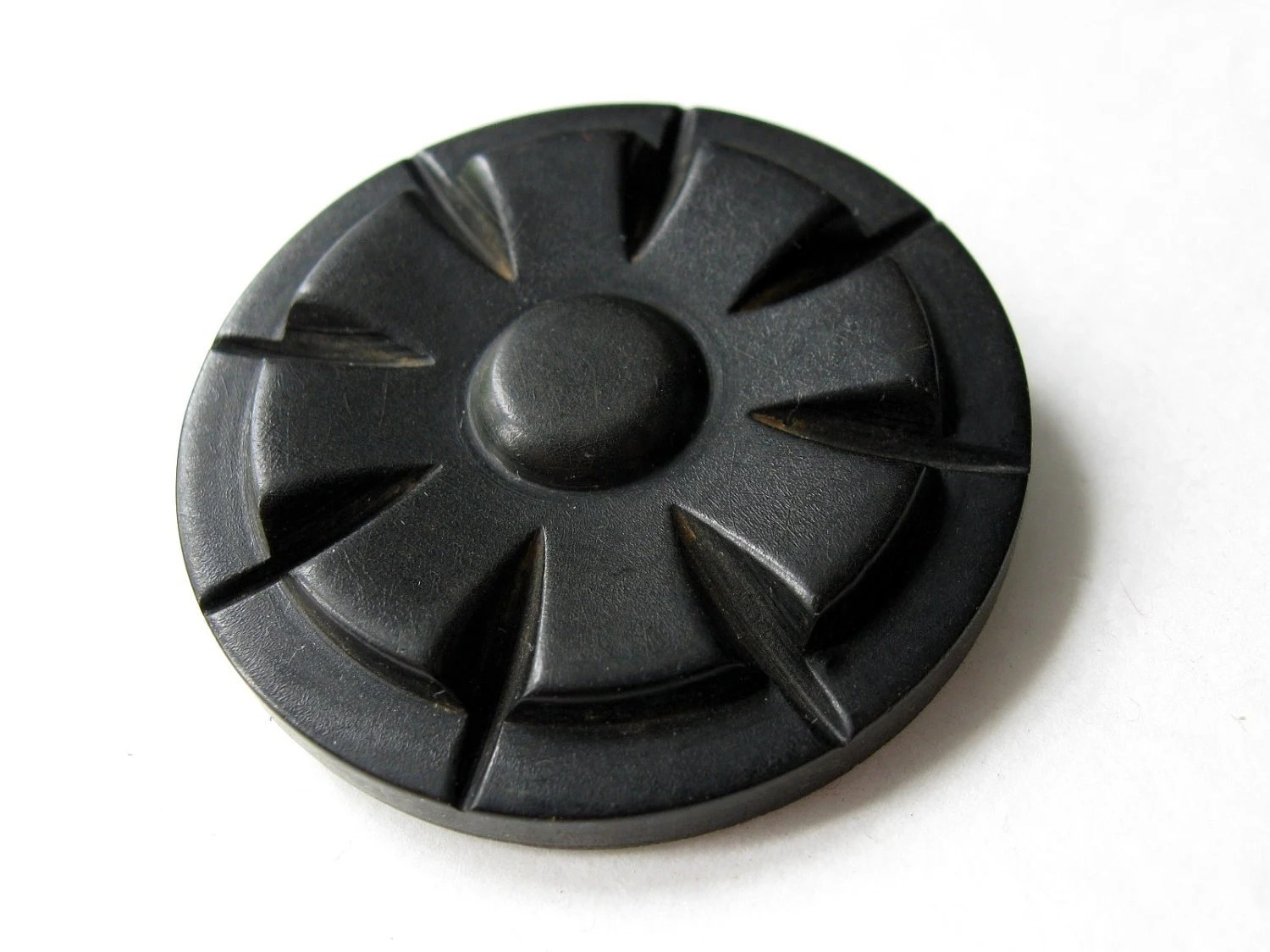Art Deco Extra large button - 1 black vintage button 48mm - EcoCraftSupply