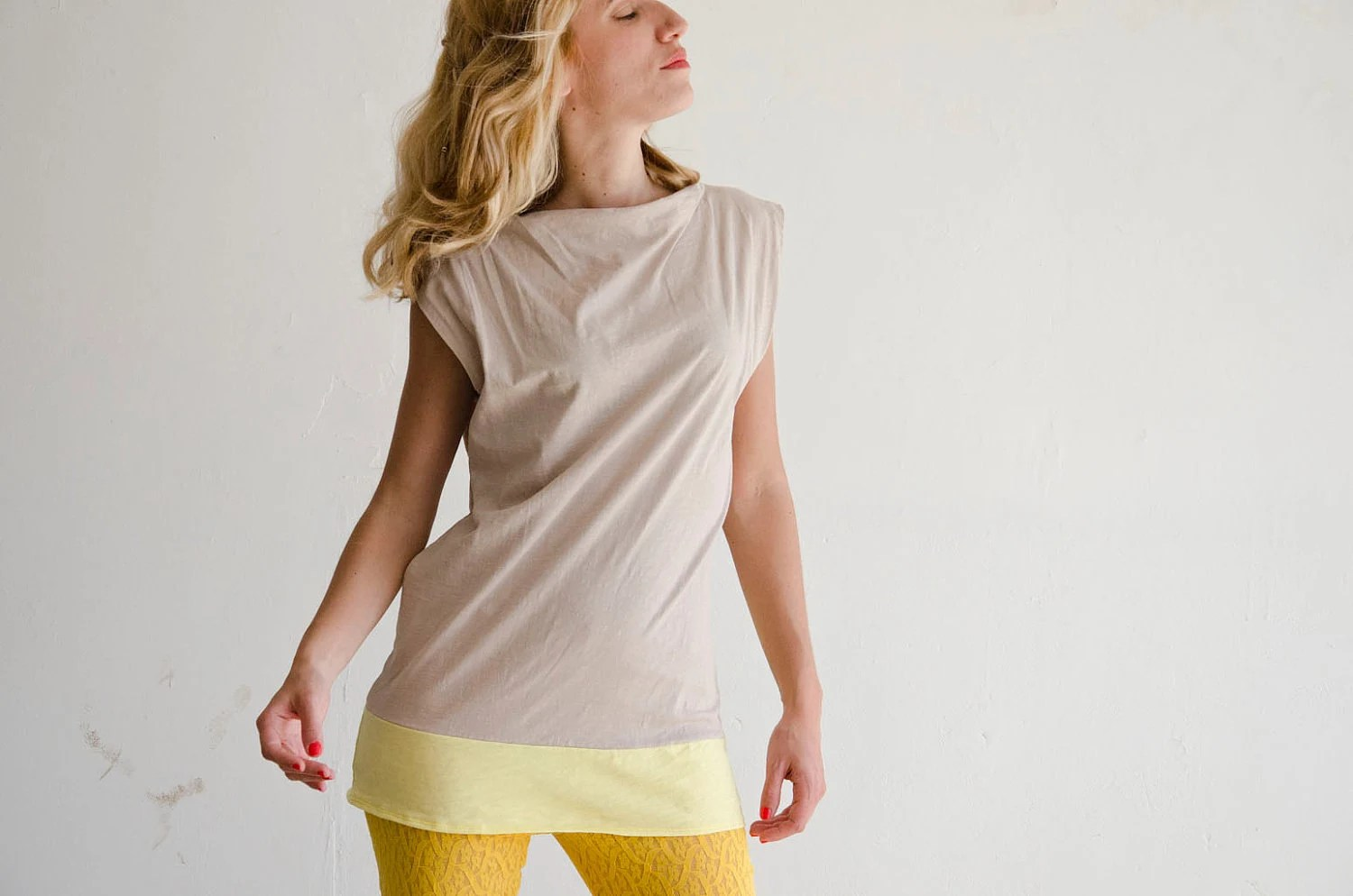 Cotton Jersey Top in Oatmeal and Yellow, Color block Mini Dress, Handmade - karmologyclinic