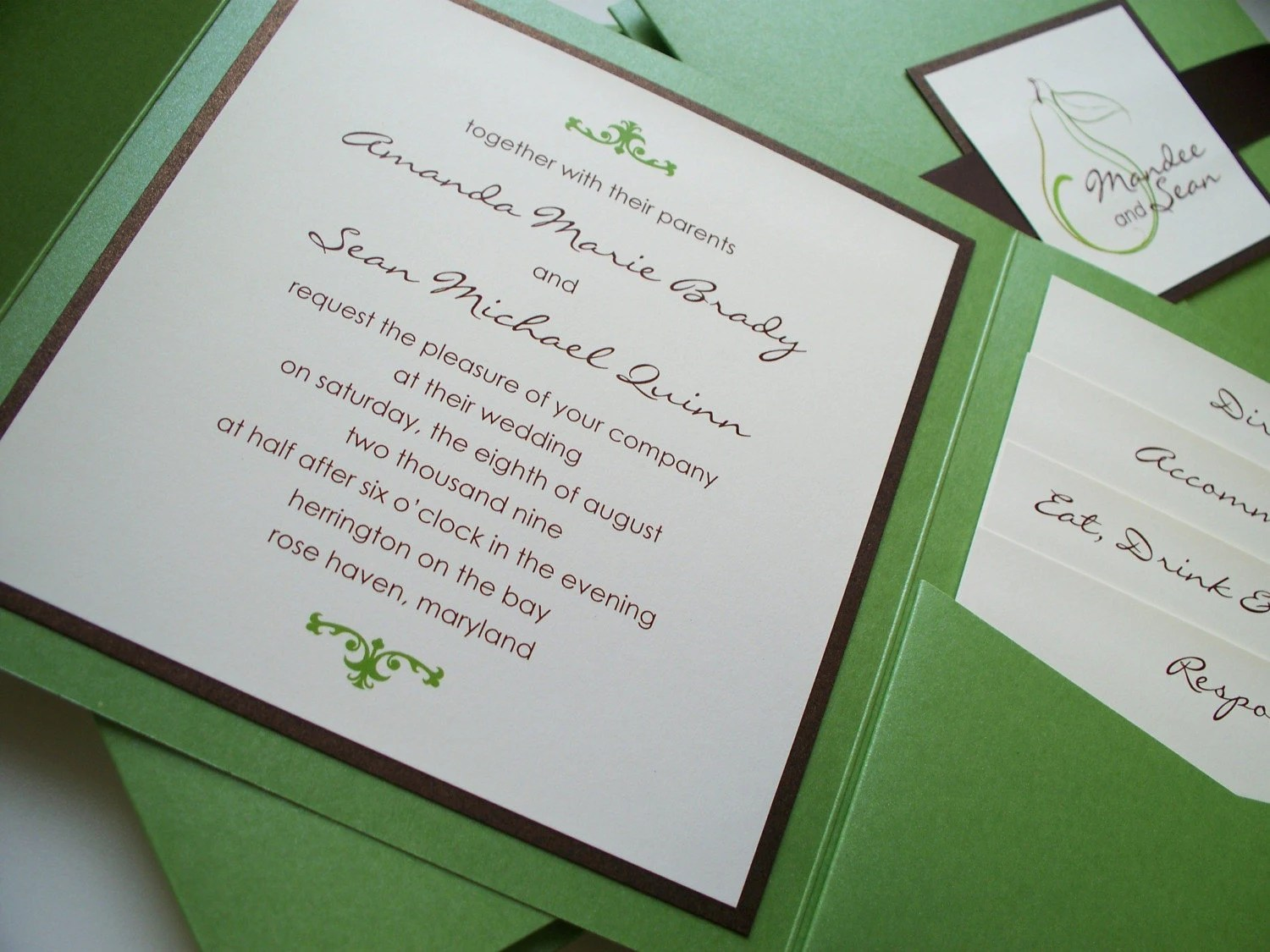 Perfect Pair Pocketfold Invitation - AllisonBDesigns