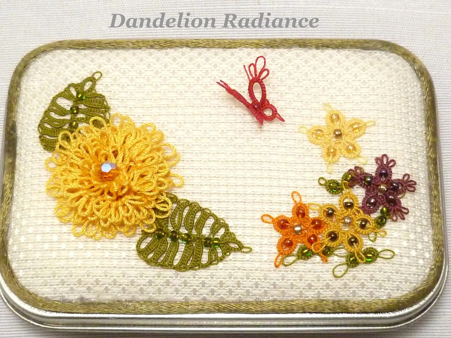 Tatted Fiber Art Butterfly Garden Box -Dandelion Radiance Keepsake