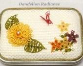 Tatted Fiber Art Butterfly Garden Box -Dandelion Radiance Keepsake