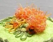 Fiber Art Tatted Catterpillar Garden Collectible Box -Candie the Tatterpillar