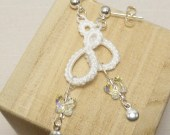 Tatted White Drop earrings with adorable Swarovski Butterflies -Drops
