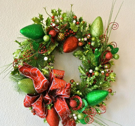 Glittery Christmas Wreath With Red and Silver Bow - 4allseasons