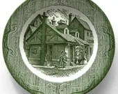 Vintage Dinner Plate The Old Curiosity Shoppe Green Charles Dickens Royal China Green - CinfulOldies