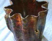 Handmade Raku Ceramic Vase VOLCANO  - Inspired by Nature. - ZenCeramics