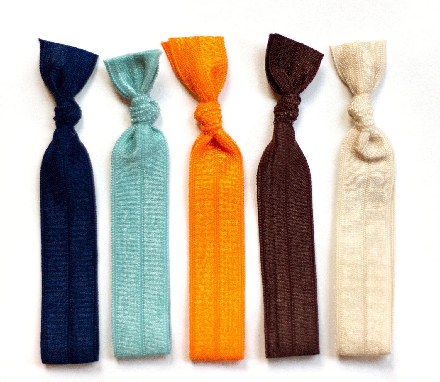 The Mid Century Package - 5 Elastic Solid Color Hair Ties that Double as Bracelets by Mane Message on Etsy - ManeMessage