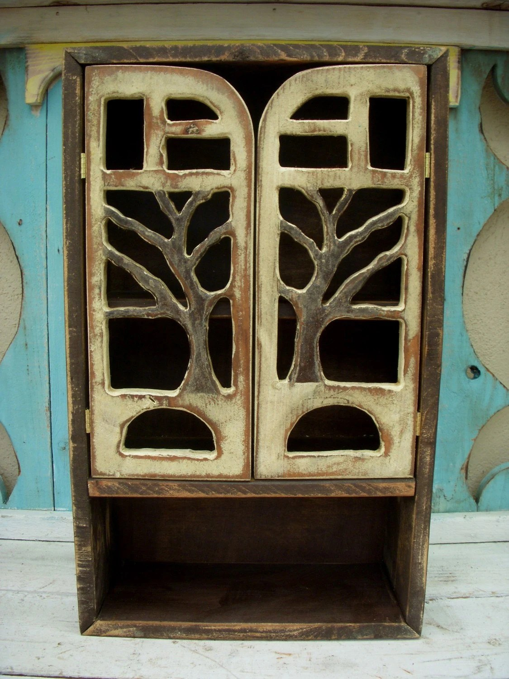 Wall Cabinet Handmade Oak Tree - Woodland Shelf Cabinet