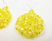 Yellow Beaded Earrings Bright Yellow Jewelry Sunshine Lemon Sterling Silver - Jalycme