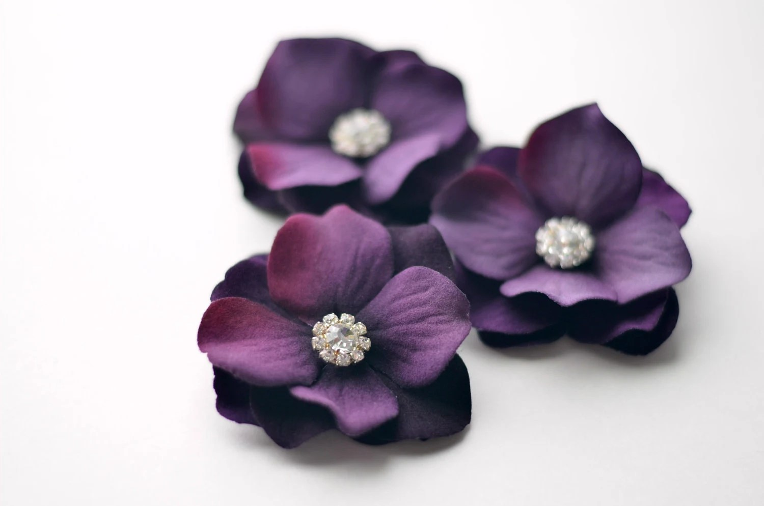 Bridesmaid Hair Clips - Wedding Hair Accessories, Set of 3 Hair Flowers, Eggplant Purple, Royal Purple, Crystal - EternalEden