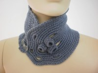 Crochet Grey Scarf Neck Warmer Cowl Scarf From Levintovich