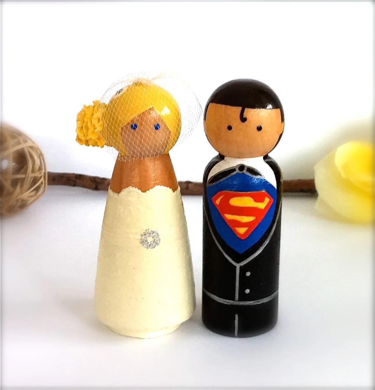 Clark Kent and Lois Lane Superman Wedding Cake Topper Wood Peg Dolls Large Wooden Cake Topper Superhero Bride Groom Keepsake Themed