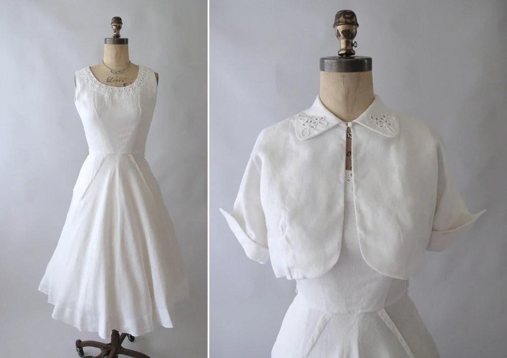 white linen wedding dresses