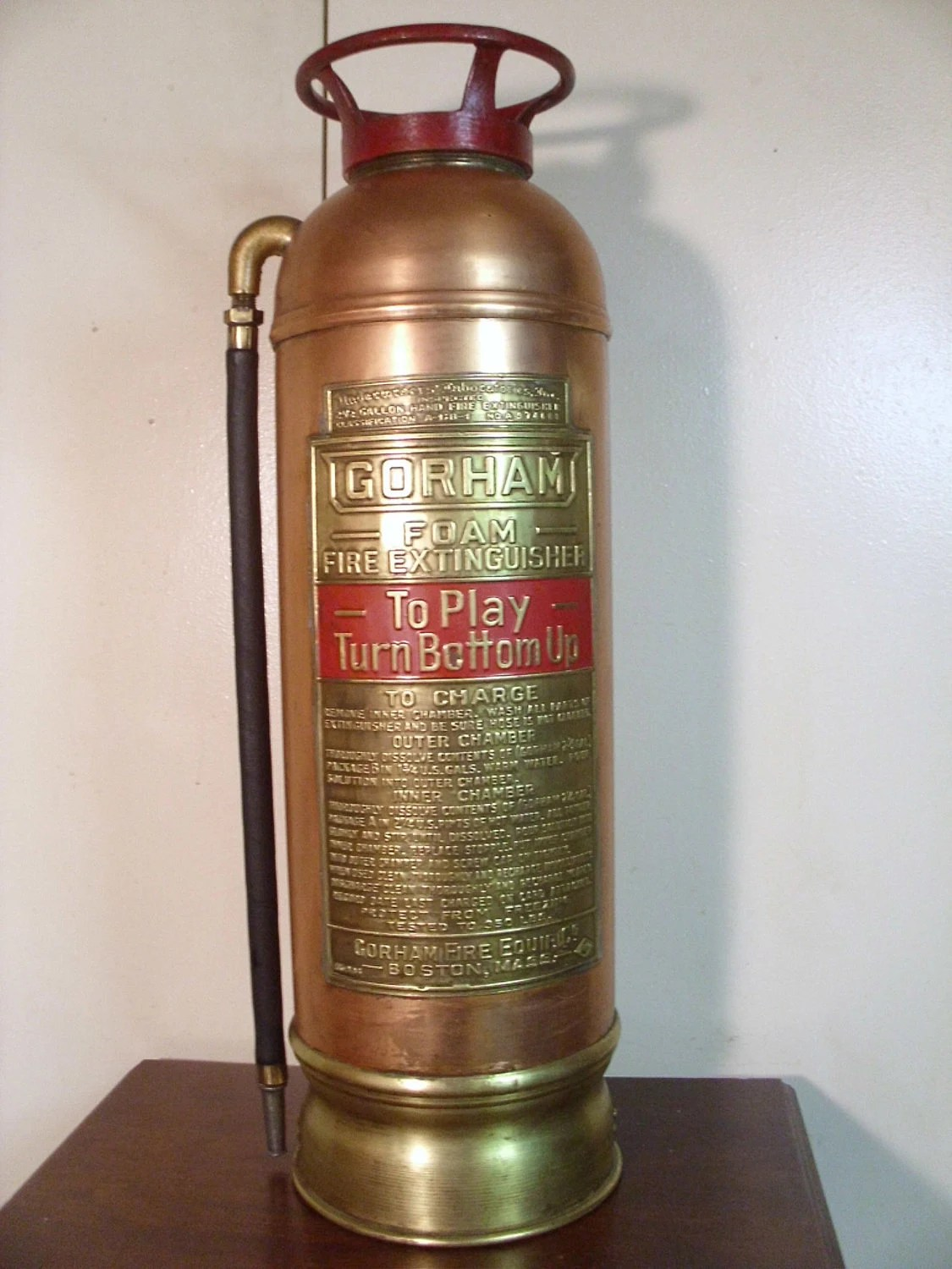Vintage 1940's Fire Extinguisher   Brass/Copper